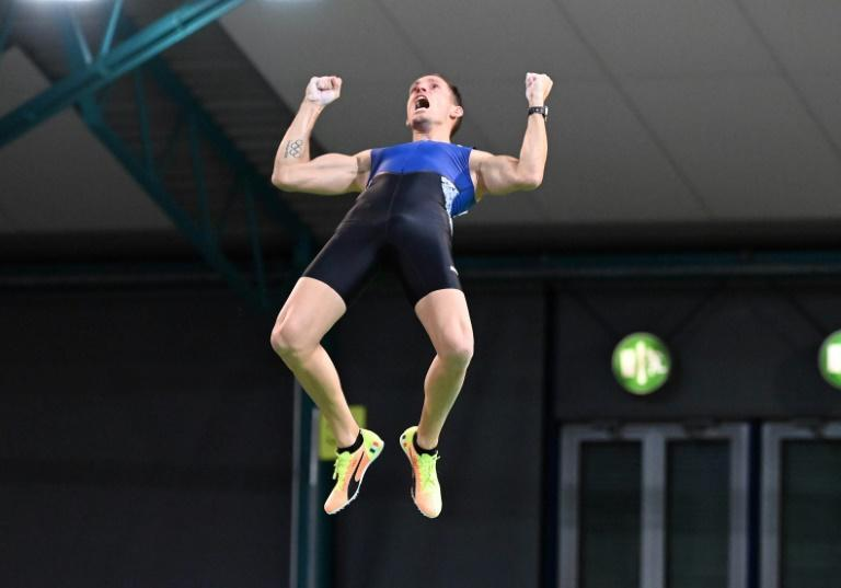 High life: Renaud Lavillenie won the pole-vault event in Karlsruhe on Friday
