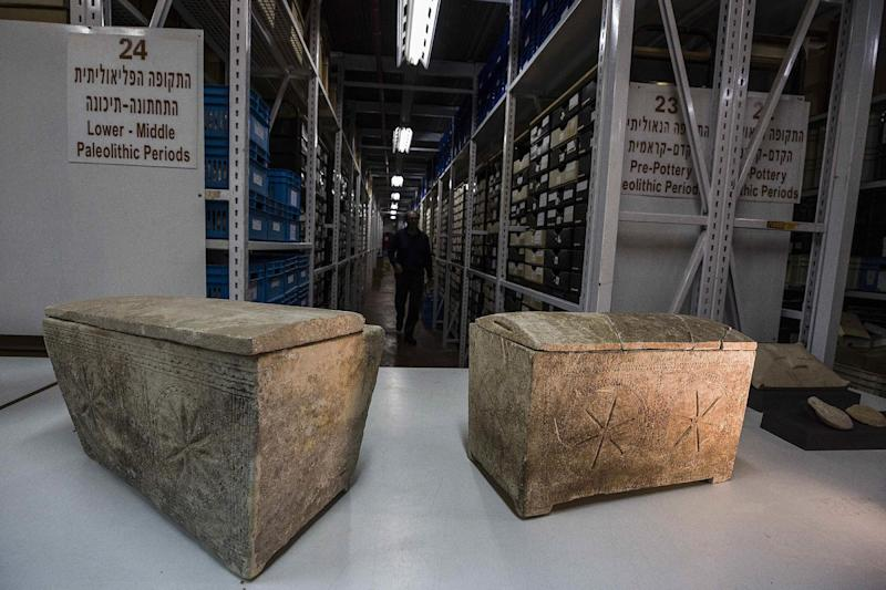 "Ossuaries with inscriptions with Hebrew letters forming the word ""Yeshua"", or Jesus, are stored in Israel's antiquities authority storeroom, in Beit Shemesh, Israel, Sunday, March 19, 2017. Israel's antiquities authority opened up its vast storeroom to reporters Sunday for a peek at select artifacts from the time of Jesus. Experts say they have yet to find direct archaeological evidence of the Jewish preacher who died on the cross and changed the course of history. (AP Photo/Tsafrir Abayov)"