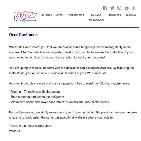 Wizz Air sent this message to its customers on Friday - Credit: Twitter