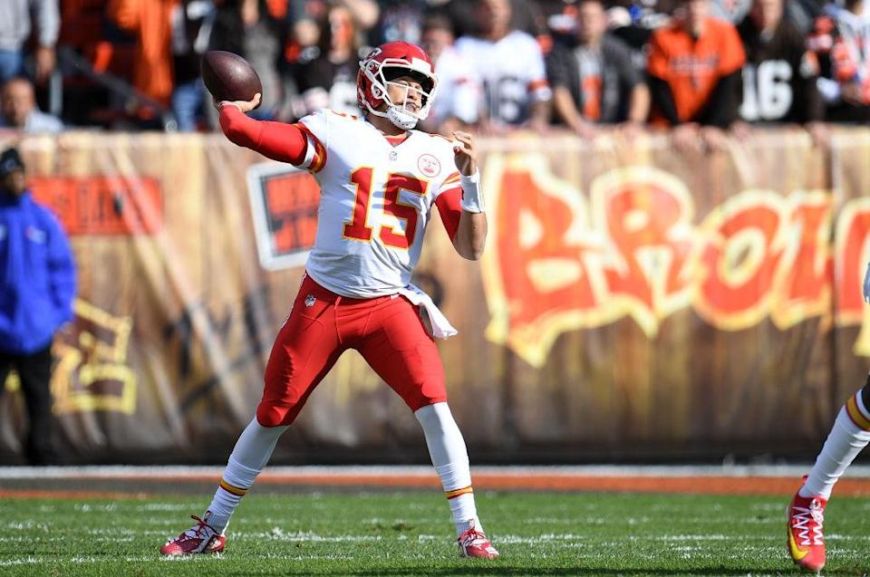 Patrick Mahomes got hit with a strange penalty Sunday. (Getty)