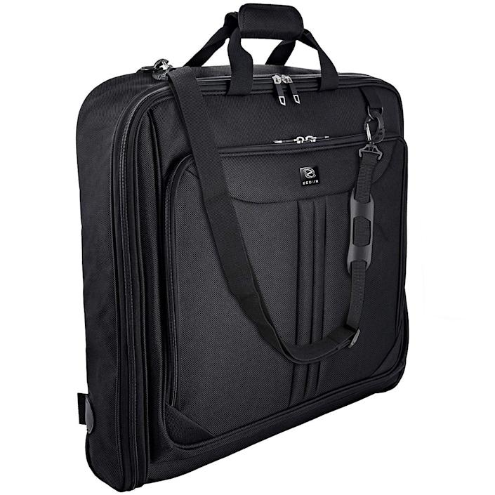 """<h2>Best Garment Bag</h2><br><strong>ZEGUR Garment Bag With Shoulder Strap</strong><br>This durable garment bag maximizes its storage capacity with multiple interior compartments, an exterior pocket, and An interior dual buckle that holds your garments in place and is meant to keep your clothes wrinkle-free. <br><br><strong>The Hype: </strong>4.6 out of 5 stars; 5,720 reviews on <a href=""""https://amzn.to/3o8KH90"""" rel=""""nofollow noopener"""" target=""""_blank"""" data-ylk=""""slk:Amazon"""" class=""""link rapid-noclick-resp"""">Amazon</a><br><br><strong>Luggage Lovers Say: </strong>""""I had a black-tie event to go to recently and wanted my long dress and two other dresses to arrive in good condition, plus be able to carry them on the plane. I was absolutely amazed how much I was able to put in this well-made garment bag besides the dresses — two pairs of shoes, a sweater, two tops, PJs, underwear, and all my personal care products. There are a number of pockets, plus the two outside compartments. I didn't need any other bag. The best part was I did not need to iron anything! So, if you are looking for a garment bag, look no further."""" — Sharon, Amazon Reviewer<br><br><strong>ZEGUR</strong> Garment Bag With Shoulder Strap, $, available at <a href=""""https://amzn.to/3o8KH90"""" rel=""""nofollow noopener"""" target=""""_blank"""" data-ylk=""""slk:Amazon"""" class=""""link rapid-noclick-resp"""">Amazon</a>"""