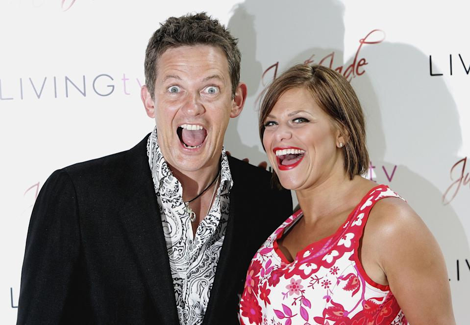 LONDON - MAY 24: TV presenter Matthew Wright and Jade Goody pose for photographs at the launch of Jade's new TV show called Just Jade at the Dorchester Hotel on May 24, 2006 in London, England (Photo by Chris Jackson/Getty Images)