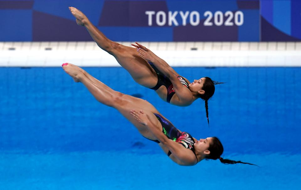 Mexicos Dolores Hernandez Monzon and Carolina Mendoza Hernandez compete in the Women's Diving synchronized 3m Springboard at Tokyo Aquatics Centre on the second day of the Tokyo 2020 Olympic Games in Japan. Picture date: Sunday July 25, 2021. (Photo by Adam Davy/PA Images via Getty Images)