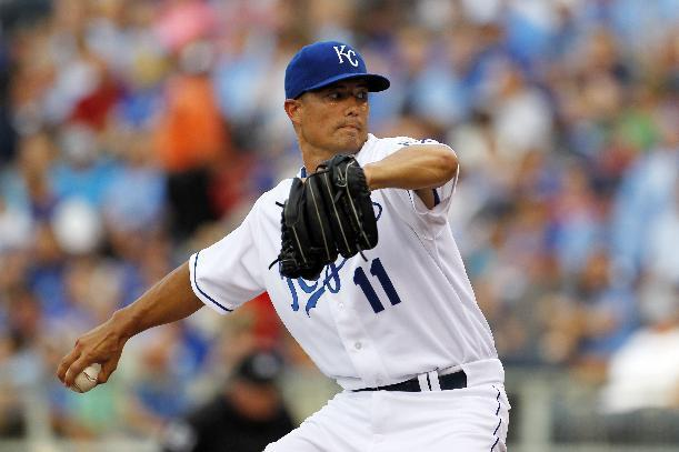 Kansas City Royals pitcher Jeremy Guthrie throws to a batter in the first inning of a baseball game against the the Los Angeles Dodgers at Kauffman Stadium in Kansas City, Mo., Monday, June 23, 2014. (AP Photo/Colin E. Braley)