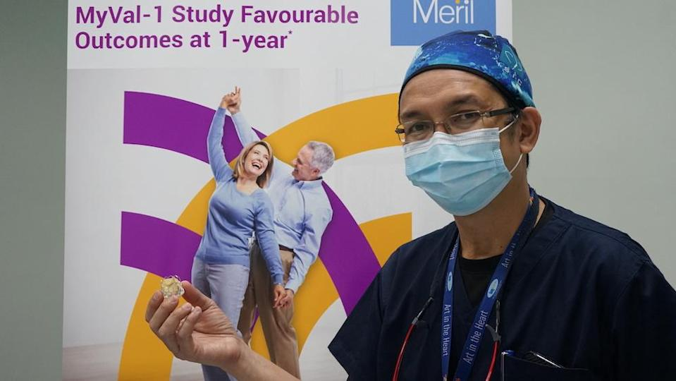 IJN's senior consultant cardiologist Dr Shaiful Azmi Yahaya with the man-made heart valve, Myval. — Photo courtesy of Institut Jantung Negara.