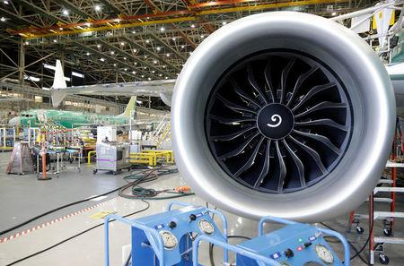 FILE PHOTO: An engine of Boeing's new 737 MAX-9 is pictured under construction at their production facility in Renton, Washington