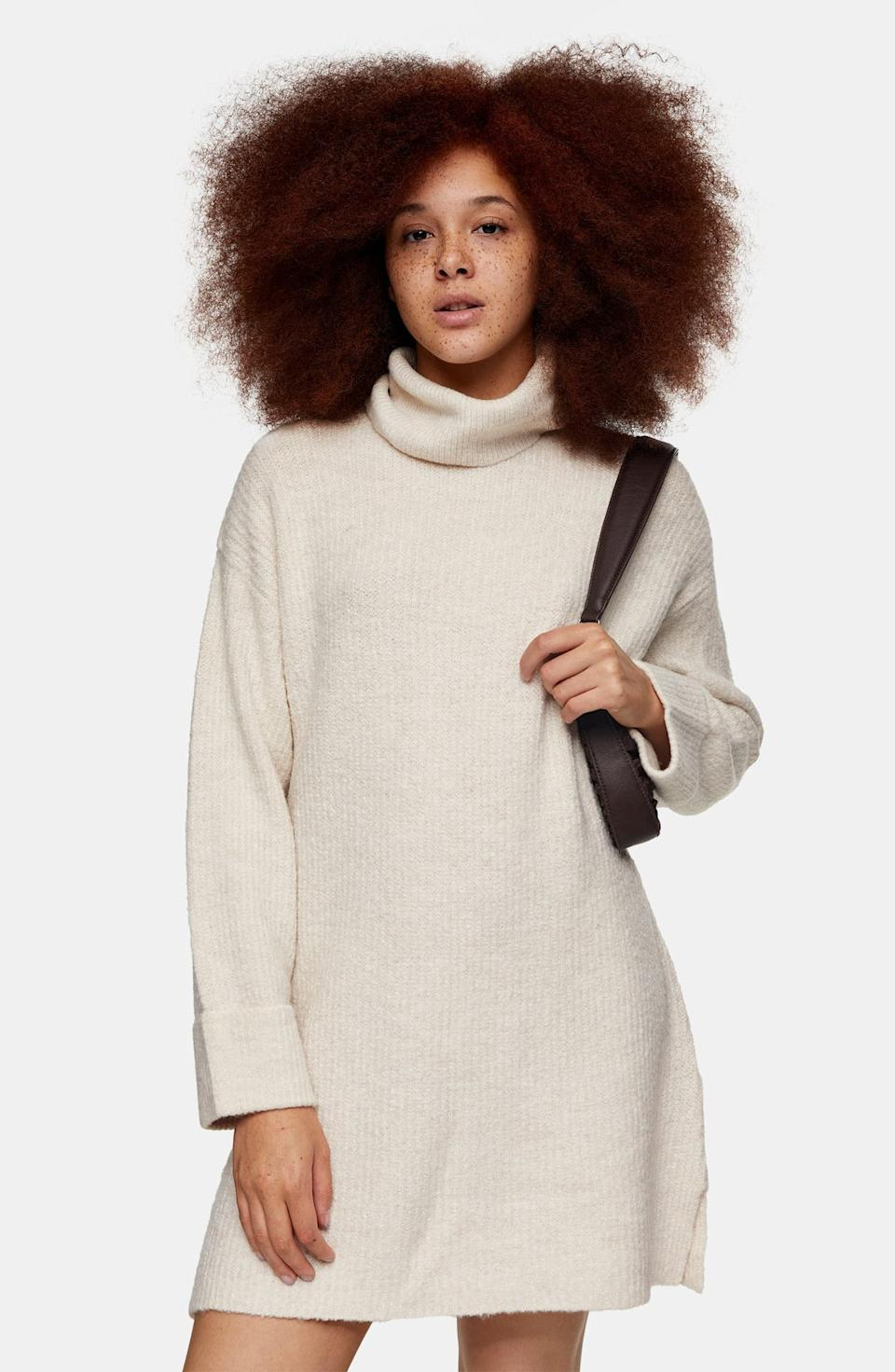 Topshop Funnel Neck Sweater Dress. Image via Nordstrom.