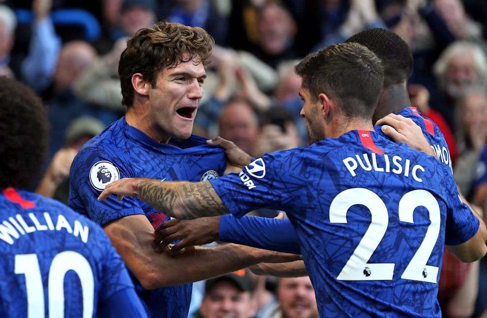 Chelsea's Marcos Alonso (left) scored Chelsea's winner Saturday against Newcastle on a sequence started by substitute Christian Pulisic. (Steven Paston/Getty)