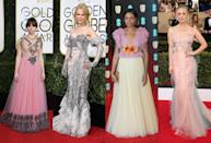 <p>Thanks to the influence of the catwalks tulle is a popular material this season. From full on princess numbers a la Felicity Jones, to Nicole Kidman's subtle tulle detail. [Photo: Getty] </p>