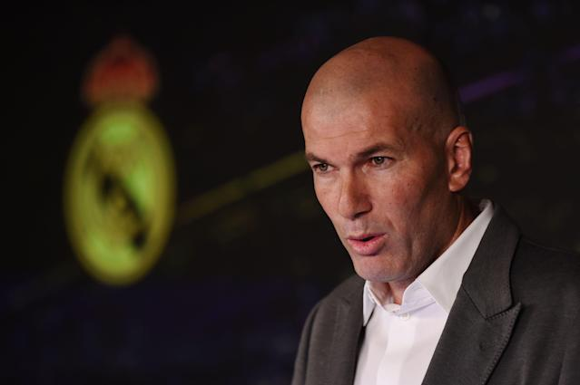 "Zinedine Zidane was unveiled as <a class=""link rapid-noclick-resp"" href=""/soccer/teams/real-madrid/"" data-ylk=""slk:Real Madrid"">Real Madrid</a>'s new manager on Monday, just 10 months after leaving the Spanish club. (Denis Doyle/Getty)"