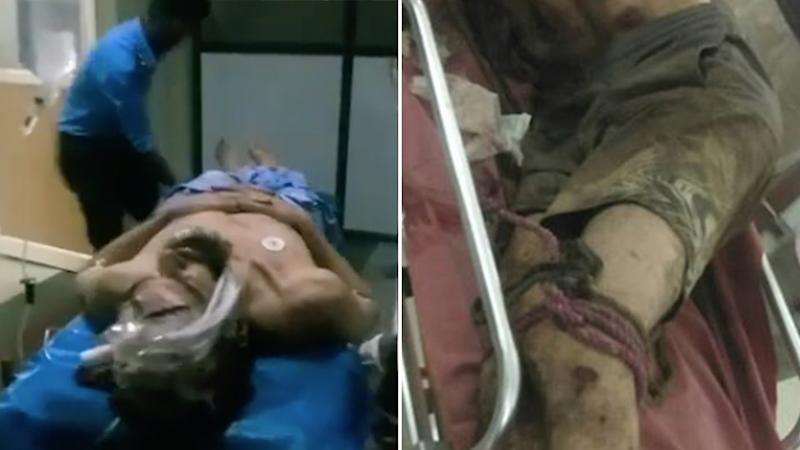 Pictured left is Mr James being rushed to Hospital. Pictured right are ropes tied to his legs. Source: Just Kannada