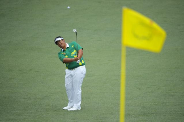 Kiradech Aphibarnrat of Thailand hits to the 2nd hole flag during second round play of the 2018 Masters golf tournament at the Augusta National Golf Club in Augusta, Georgia, U.S., April 6, 2018. REUTERS/Brian Snyder