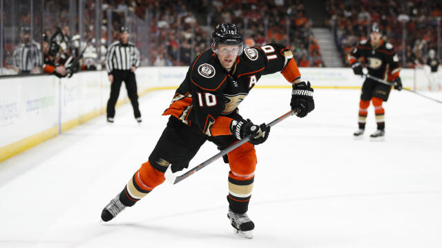 "FILE - In this March 18, 2018, file photo, Anaheim Ducks' Corey Perry skates during the second period of an NHL hockey game against the New Jersey Devils, in Anaheim, Calif. The Anaheim Ducks have bought out the contract of former NHL MVP Corey Perry after 14 seasons with the franchise. The Ducks announced the move Wednesday, June 19, 2019. General manager Bob Murray called it ""one of the most difficult decisions I've had to make in my 44 years in the NHL.""(AP Photo/Jae C. Hong, File)"