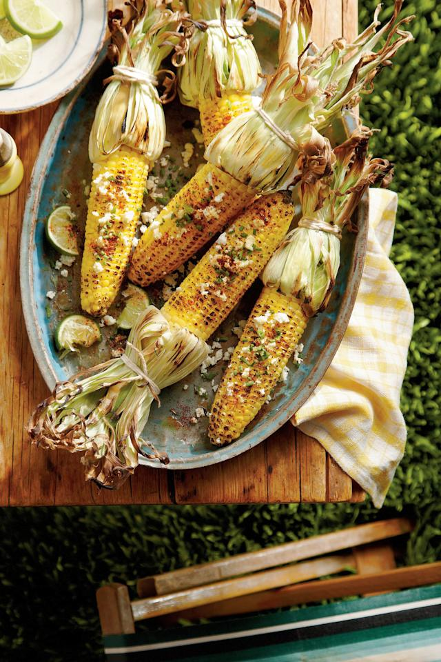 "<p><strong>Recipe: <a href=""http://www.myrecipes.com/recipe/grilled-corn-50400000121684/"" target=""_blank"">Grilled Corn</a></strong></p> <p>Fresh corn on the cob is a hallmark of warm and sunny summer days. We've gathered up our favorite ways to enjoy this fresh and juicy veggie all season long.</p> <p>In this first recipe, we've devised three unique and delicious ways to top grilled corn, from Herbed Cotija Cheese to Chipotle Butter.</p>"