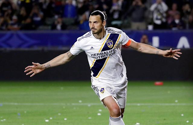 Ibrahimovic is currently in his second season with the LAGalaxy. (Marcio Jose Sanchez/AP)