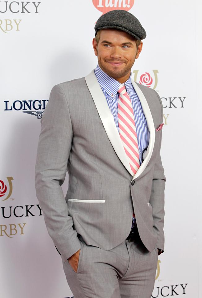 "<p class=""MsoNormal"">Also excited to be taking part in the festivities was ""Twilight"" hunk Kellan Lutz, who looked dapper from head to toe thanks to his sharp suit, newsboy cap, and pink-and-white striped tie and matching pocket square from vineyard vines.<span style=""font-size:10.0pt;color:#1F497D;""></span> ""I love Kentucky! Derby time!"" he tweeted.</p>"