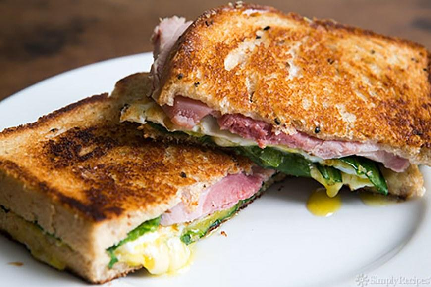 """<p>Use lean ham and plenty of baby spinach, and this grilled cheese may qualify as an actual adult meal. Get the recipe <a rel=""""nofollow"""" href=""""http://www.simplyrecipes.com/recipes/greens_eggs_and_ham_grilled_cheese_sandwich?mbid=synd_yahoofood"""">here</a>.</p>"""