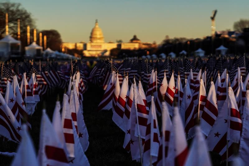 "A close-up view shows the ""Field of Flags"" on the National Mall ahead of inauguration ceremonies for U.S. President-elect Joe Biden in Washington"