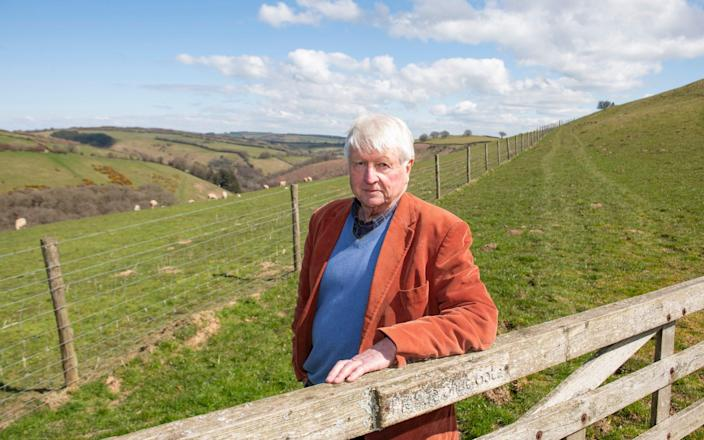 Stanley Johnson at Exmoor National Park, where fencing and grass grazing has been installed  - Dale Cherry