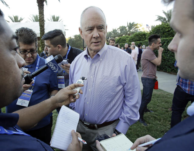 Sandy Alderson, general manager of the New York Mets, talks with reporters at the annual baseball general managers' meetings, Monday, Nov. 13, 2017, in Orlando, Fla. (AP Photo/John Raoux)