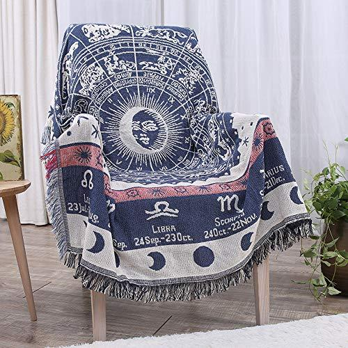 """Erke Astrology Throw Blanket Tapestry with Boho Fringe for Couch Bed, Cotton Woven Reversible Knit Cover Hippie Blankets for Sofa Room Wall Decor - 50"""" X 70"""" White/Blue (Amazon / Amazon)"""