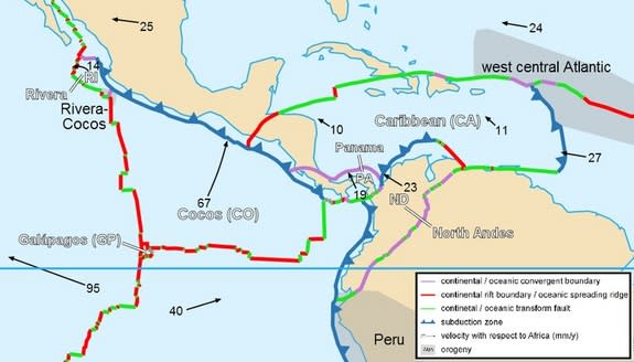 Tectonic plates in northwestern South America and Panama.