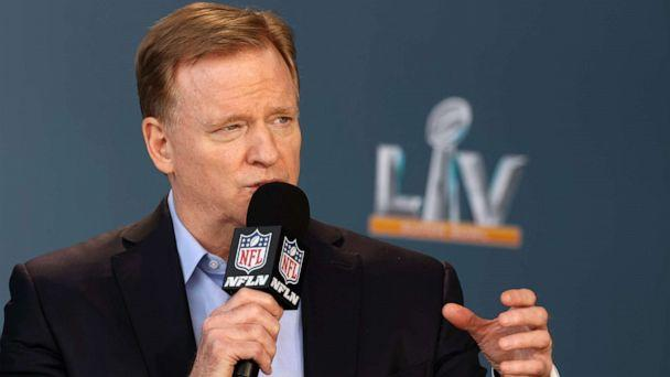 PHOTO: NFL Commissioner Roger Goodell speaks at a press conference ahead of Super Bowl LV, Feb. 4, 2021, in Tampa, Fla. (Perry Knotts/Handout Photo via USA TODAY Sports)