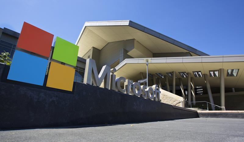 The Microsoft logo outside its headquarters building