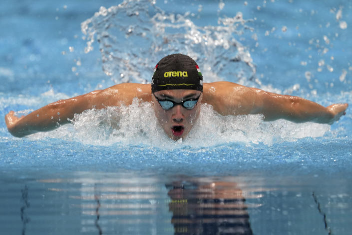 Kristof Milak of Hungary swims in a men's 200-meter butterfly final at the 2020 Summer Olympics, Wednesday, July 28, 2021, in Tokyo, Japan. (AP Photo/Matthias Schrader)