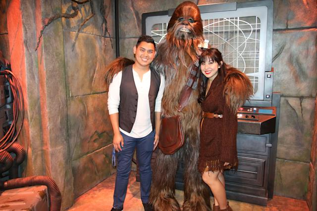 "Keshia and her husband Kevin Disneybounding as Han Solo and Chewbacca from ""Star Wars."""