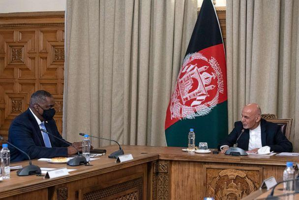 PHOTO: Secretary of Defense Lloyd J. Austin meets with Afghan President Ashraf Ghani on March 21, 2021, in Kabul, Afghanistan. (Handout/Dept of Defense via Getty Images)