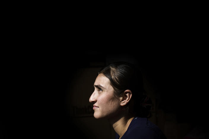 <p>Busra, a 16-year-old Yazidi, poses for a portrait inside the rehabilitation center of the Yazidi NGO YAZDA in Dohuk, Iraqi Kurdistan, on April 6, 2016. She was captured and sold as a sex slave on Aug. 13, 2014, by ISIS in Sinjar. On Sept. 11, 2015, she managed to escape from captivity through a tiny bathroom window with Fria, a good friend and Yazidi. (Photograph by Diego Ibarra Sanchez / MeMo) </p>