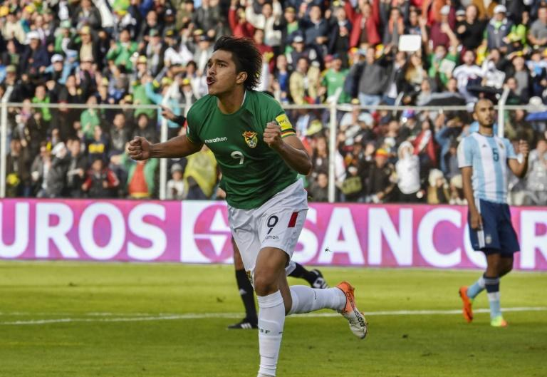 Bolivia's forward Marcelo Martins celebrates after scoring against Argentina during their 2018 FIFA World Cup qualifier football match in  La Paz on March 28, 2017