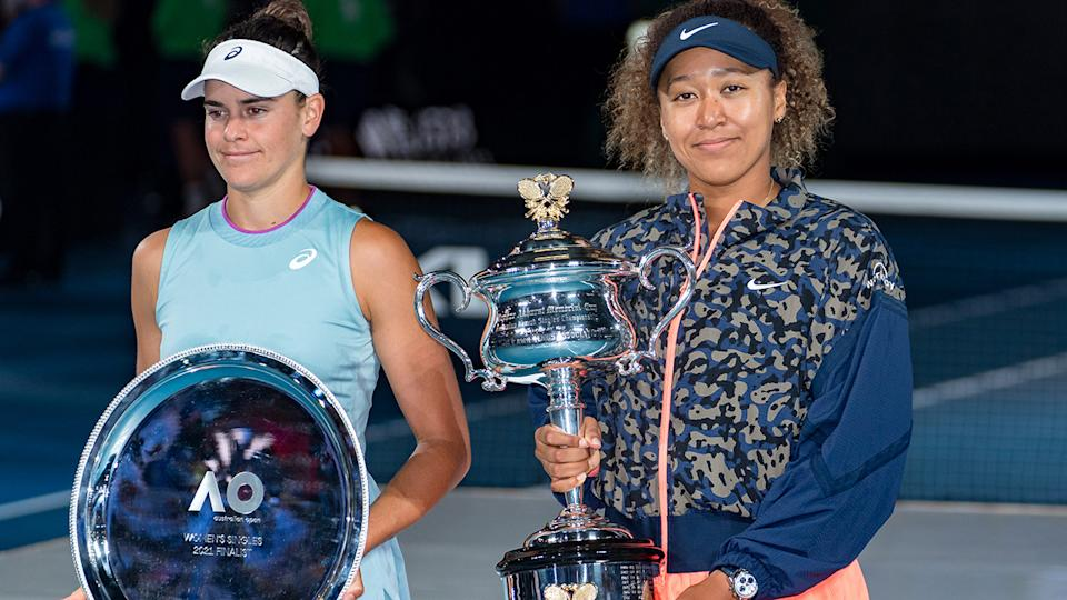 Naomi Osaka and Jennifer Brady, pictured here after the Australian Open women's final.