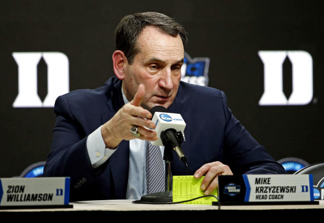 Duke Blue Devils head coach Mike Krzyzewski speaks during a press conference after an NCAA tournament loss in March. (USAT)