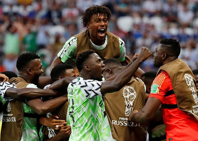 Soccer Football - World Cup - Group D - Nigeria vs Iceland - Volgograd Arena, Volgograd, Russia - June 22, 2018 Nigeria's Ahmed Musa celebrates scoring their first goal with team mates REUTERS/Toru Hanai TPX IMAGES OF THE DAY