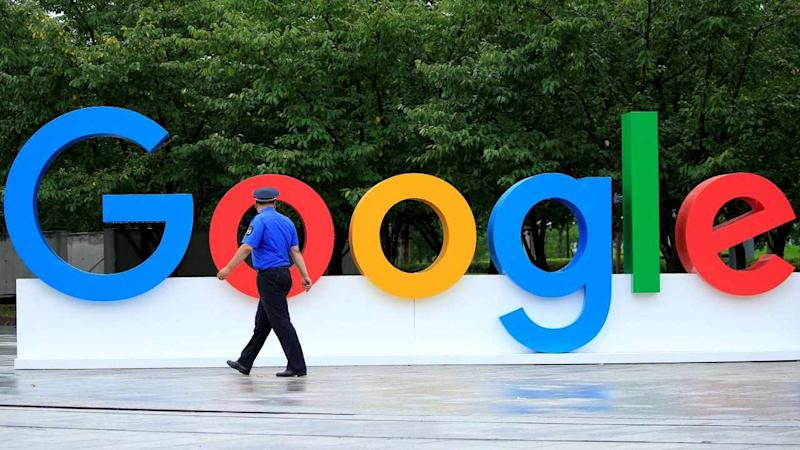 A Google sign is seen during the WAIC (World Artificial Intelligence Conference) in Shanghai, China. Image: Reuters