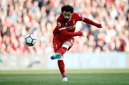 Soccer Football - Premier League - Liverpool vs AFC Bournemouth - Anfield, Liverpool, Britain - April 14, 2018 Liverpool's Mohamed Salah shoots at goal Action Images via Reuters/Carl Recine