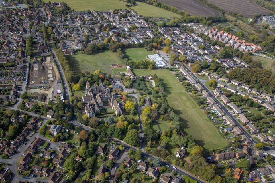 OXFORDSHIRE, UNITED KINGDOM. OCTOBER 2018. An aerial photograph of St Marys Convent on October 7th 2018. This Anglican Community dates back to 1848, it is located on Challow and Denchworth Road,  Wantage, 12 miles south west of Oxford. Aerial Photograph by David Goddard/Getty Images)