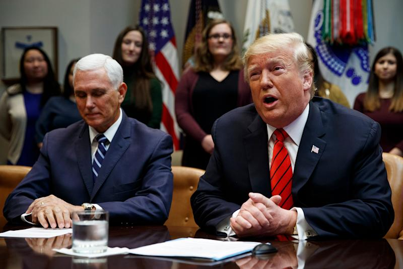 Vice President Mike Pence listens as President Donald Trump speaks from the Roosevelt Room of the White House on Oct. 18. Pence would have had to sign any letter in support of invoking the 25th Amendment. (Photo: Evan Vucci/ASSOCIATED PRESS)