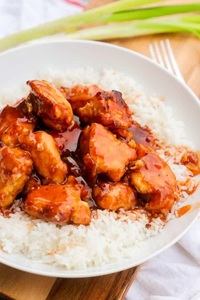 """<p>This take-out staple actually <em>so</em> easy to make at home with the right ingredients and an air fryer.</p><p><em><a href=""""https://www.thediaryofarealhousewife.com/easy-orange-chicken/comment-page-1/"""" rel=""""nofollow noopener"""" target=""""_blank"""" data-ylk=""""slk:Get the Recipe from The Diary of a Real Housewife >>"""" class=""""link rapid-noclick-resp"""">Get the Recipe from The Diary of a Real Housewife >></a></em></p>"""