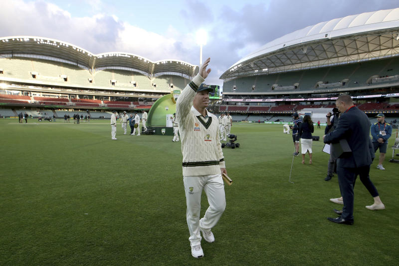 Man of the match Australia's David Warner after their win over Pakistan in their cricket test match in Adelaide, Monday, Dec. 2, 2019. (AP Photo/James Elsby)