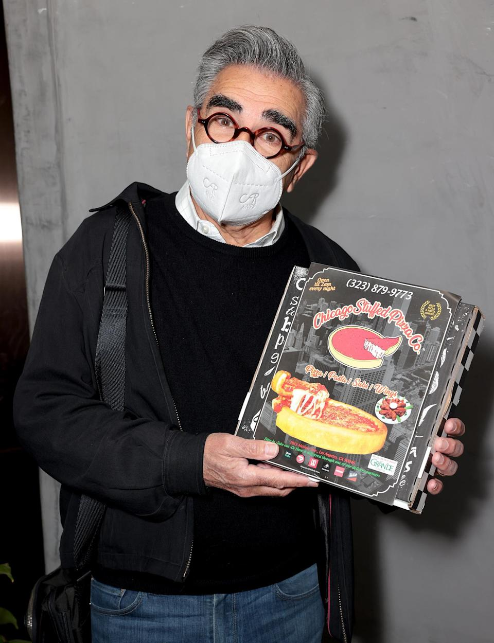 <p>Eugene Levy hangs out at the EON Mist Sanitizer Pre-Oscars Lounge, presented by GBK Brand Bar, at La Peer Hotel on Friday in L.A.</p>