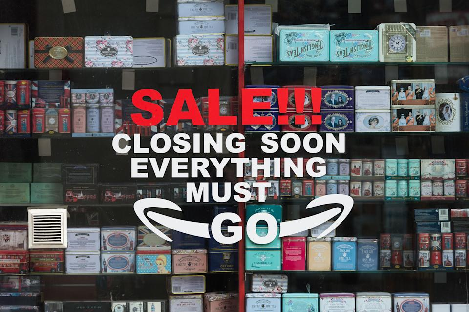 LONDON, UNITED KINGDOM - MARCH 02, 2021: A closing down sale is advertised in a window of a souvenir shop in central London as England remains under third lockdown to reduce the number of Covid-19 infections, on 02 March, 2021 in London, England. Chancellor Rishi Sunak is due to announce his tax and spending plans in 2021 Budget tomorrow with the main focus on measures to support the UK's economic recovery from the slump caused by the coronavirus pandemic including a £5bn scheme for High Street shops and hospitality businesses as well as £408m for museums, theatres and galleries.- PHOTOGRAPH BY Wiktor Szymanowicz / Barcroft Studios / Future Publishing (Photo credit should read Wiktor Szymanowicz/Barcroft Media via Getty Images)