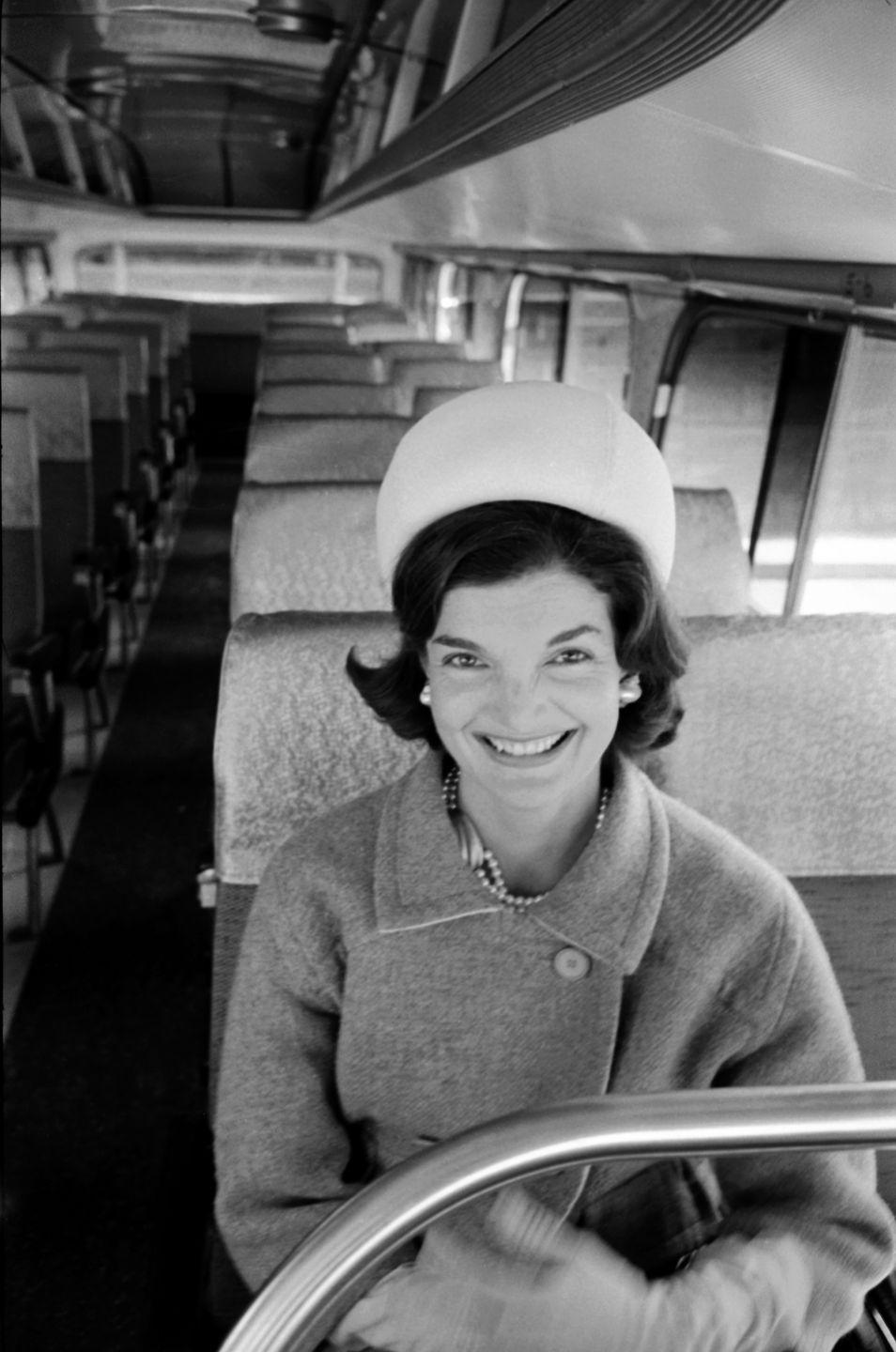 <p>Jackie on the campaign trail for her husband Jack's presidential run. </p>