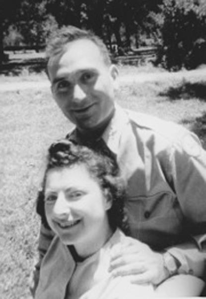 HOLD FOR STORY MOVEMENT - This undated image provided by Hyla Merin shows 2nd Lt. Hyman Markel with his bride, Celia Markel. Markel was a rabbi's son, brilliant at mathematics, the brave winner of a Purple Heart who died in 1945. Markel was killed on May 3, 1945, in Italy's Po Valley while fighting German troops as an officer with the 88th Division of the 351st Infantry Regiment. (AP Photo/Hyla Merin)