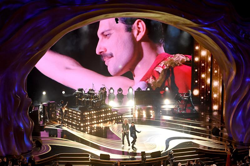 HOLLYWOOD, CALIFORNIA - FEBRUARY 24: An image of the late Freddie Mercury is projected onto a screen while Adam Lambert + Queen perform onstage during the 91st Annual Academy Awards at Dolby Theatre on February 24, 2019 in Hollywood, California. (Photo by Kevin Winter/Getty Images)