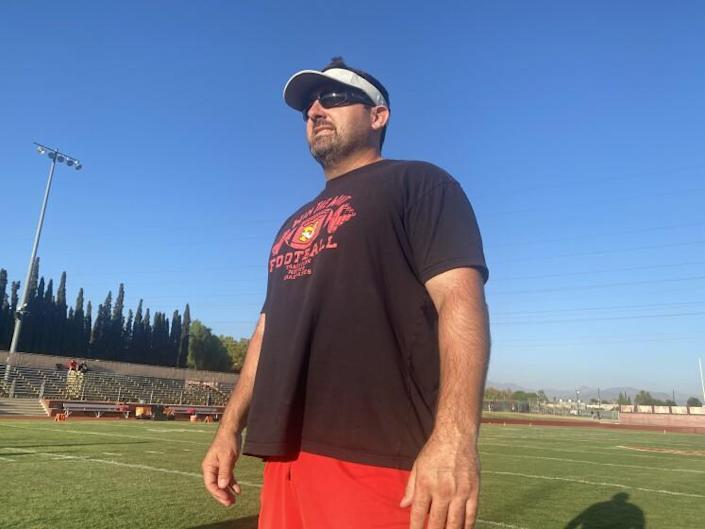 Mission Viejo coach Chad Johnson before Friday's game against Bishop Alemany.