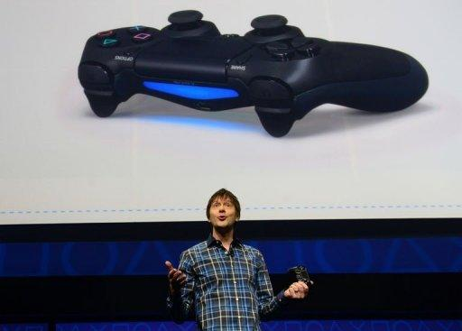 Video game designer Mark Cerny talks about the new controler Bioshock 4 as Sony introduces the PlayStation 4 at a news conference on February 20, 2013 in New York