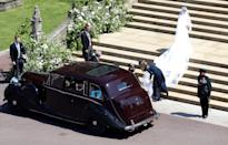 <p>Keller was at the ceremony and helped Meghan Markle get out of the car. Andrew Matthews – WPA Pool/Getty Images </p>